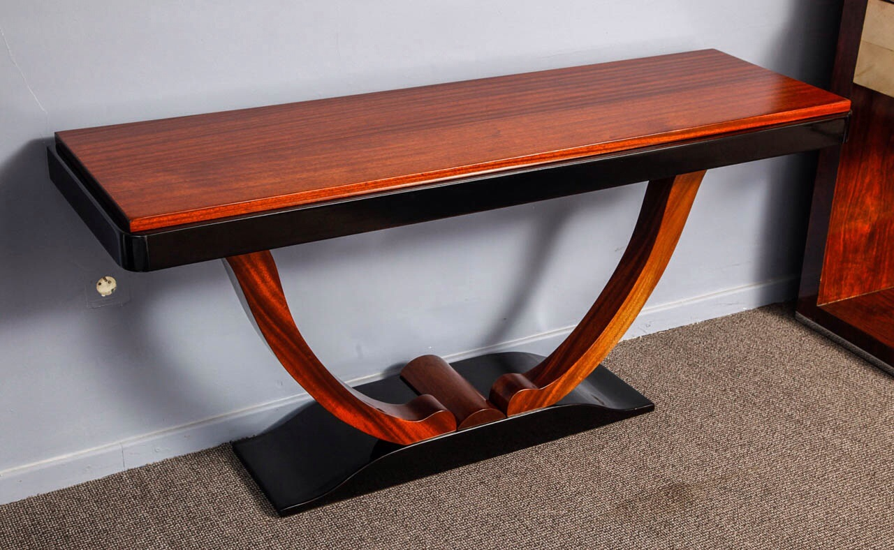 art deco console table with u bases modernism. Black Bedroom Furniture Sets. Home Design Ideas