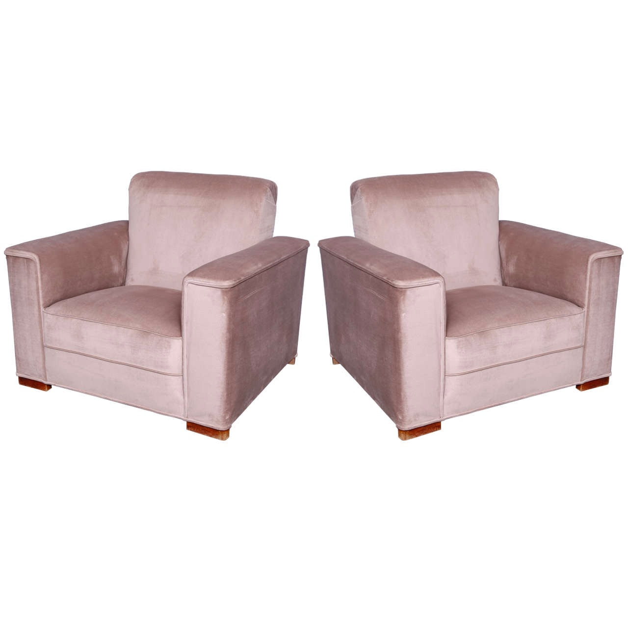 Pair art deco club chairs streamline modernism - Club deco ...