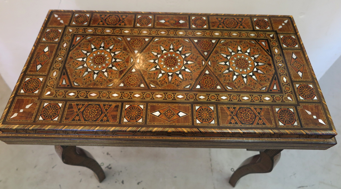 Inlaid Syrian Mosaic Game Table Modernism