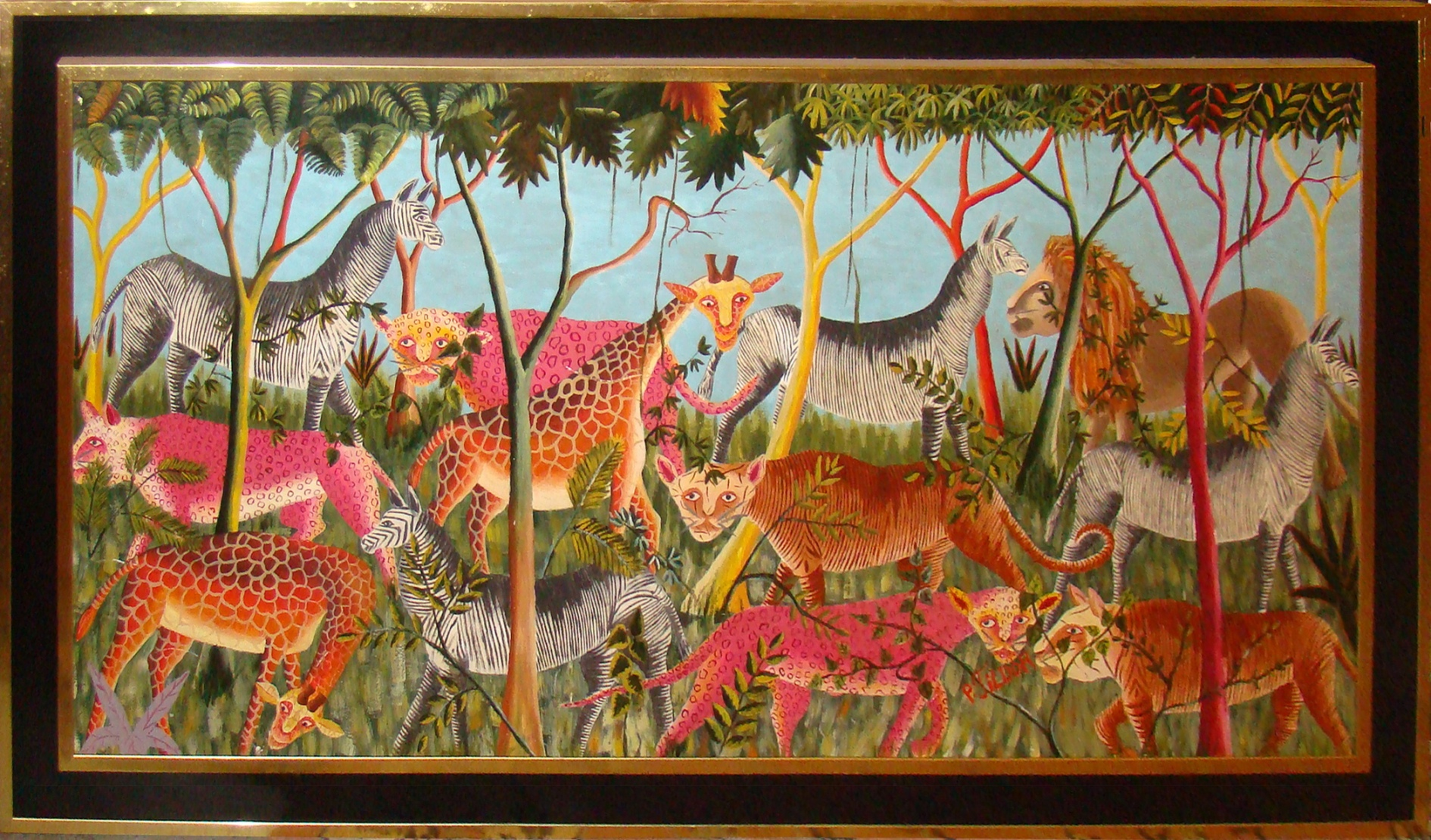 Mid Century Modern Haitian Jungle Scene By J Tildor