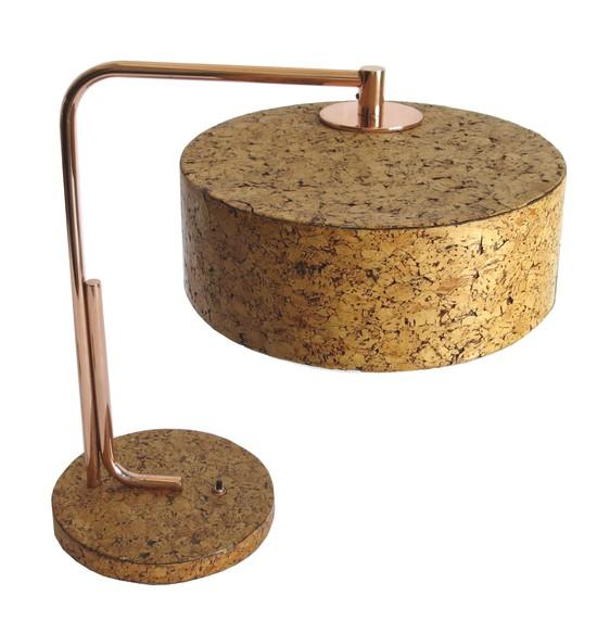 Kurt Versen Cork And Copper American Art Deco Table Lamp