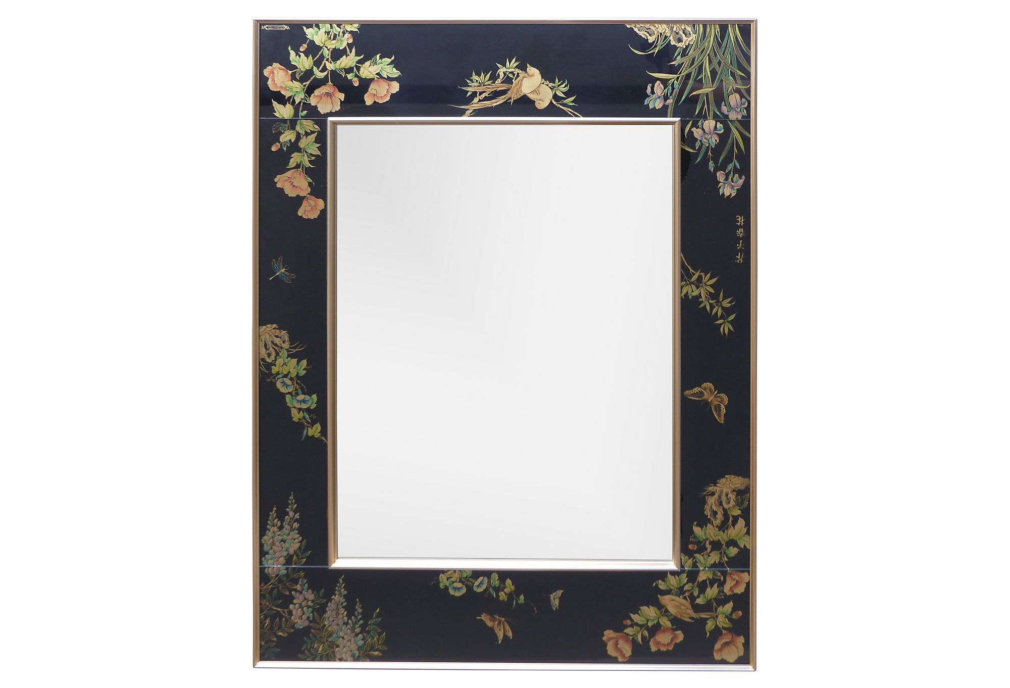 Chinoiserie Labarge Reverse Painted Glass Mirror Modernism