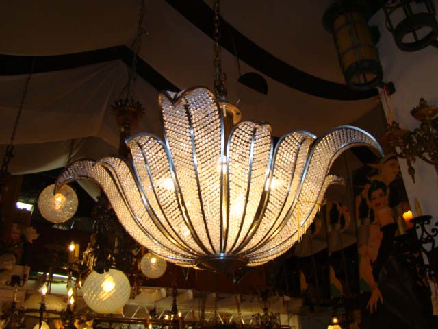 Stainless Steel and Crystal Leaf Chandelier by Kurt Faustig ...