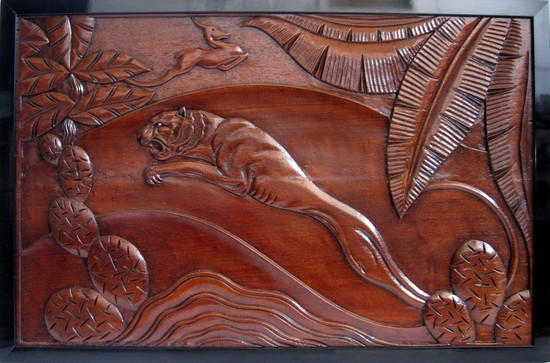 French Art Deco Jungle Cat And Gazelle Carved Wood Placque