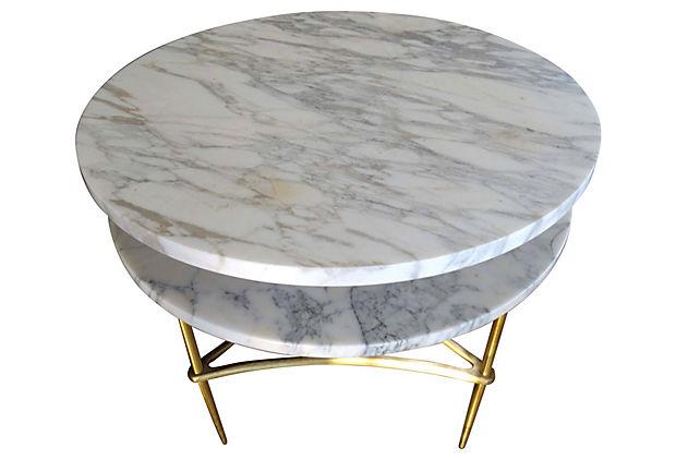 Mid Century Modern Italian Carrara Marble U0026 Brass Side Table
