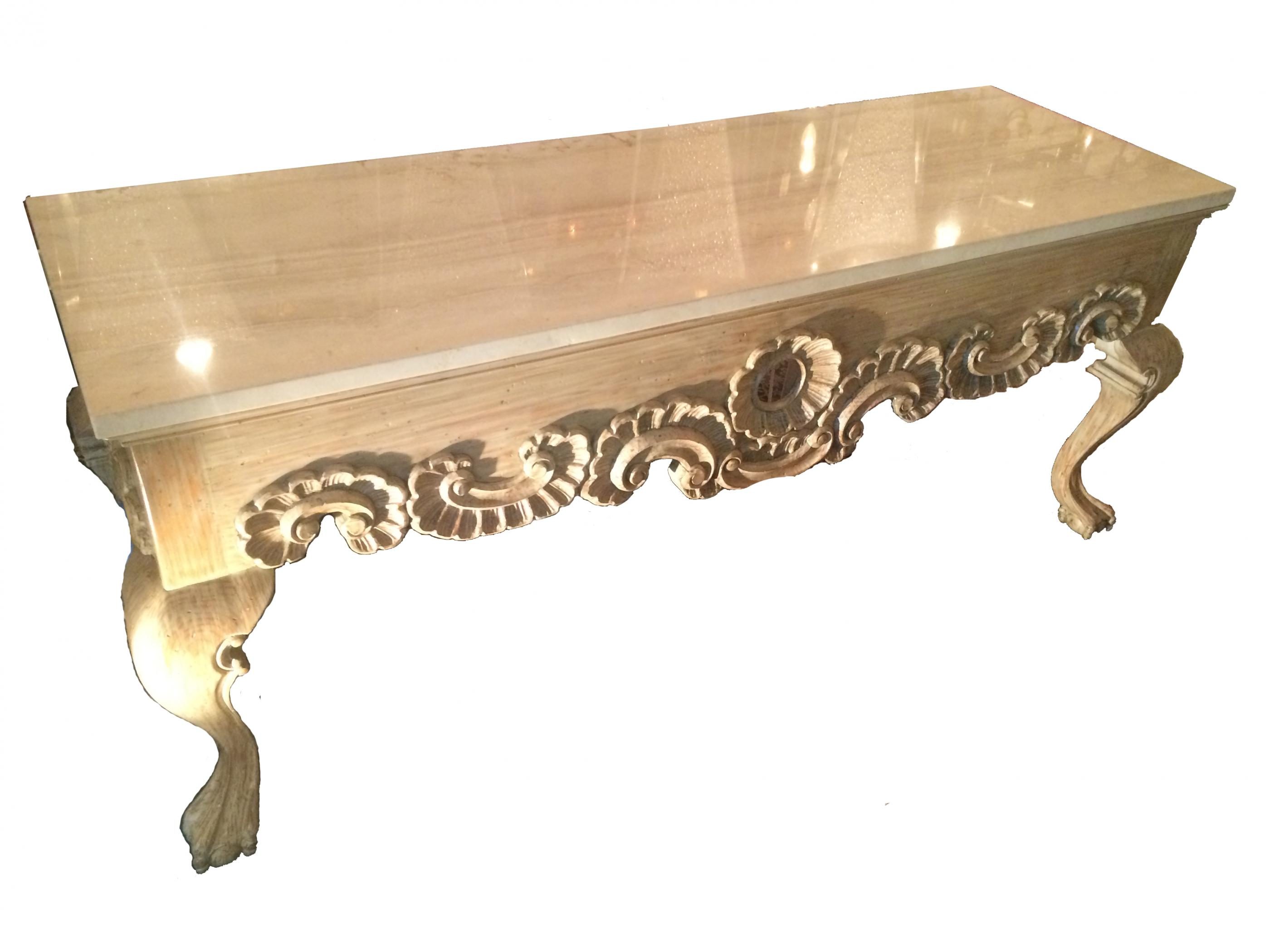 Ornate Marble Top Hall Console Table