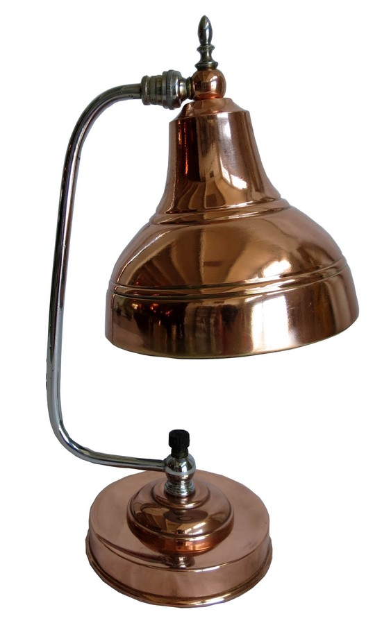 Markel American Art Deco Copper And Chrome Table Lamp