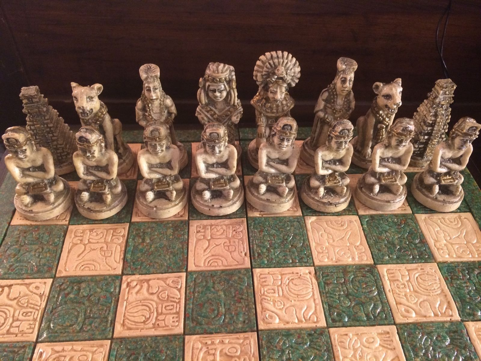 Antique wood and stone mayan mexican chess set modernism - Granite chess set ...