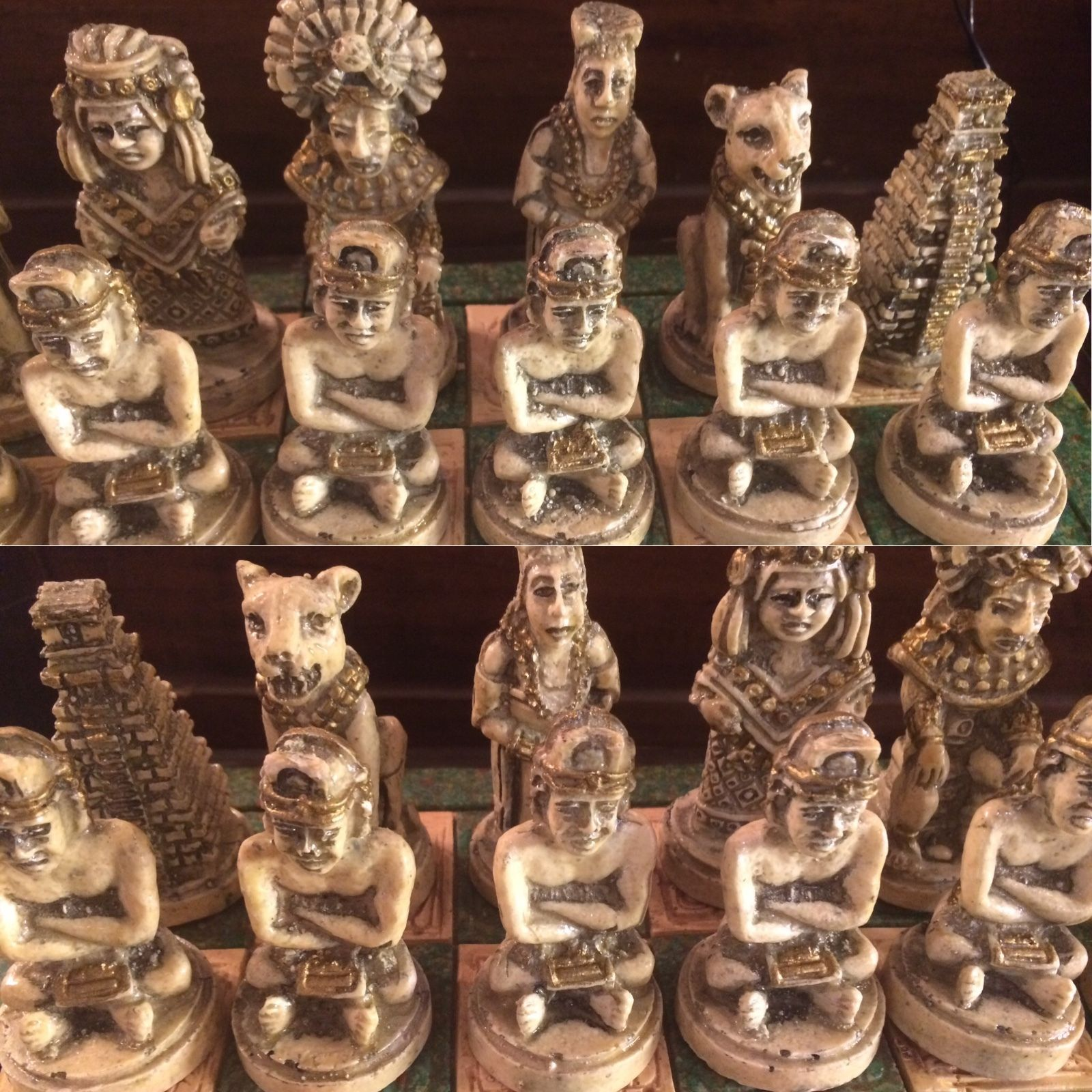Antique wood and stone mayan mexican chess set modernism - Collectible chess sets ...