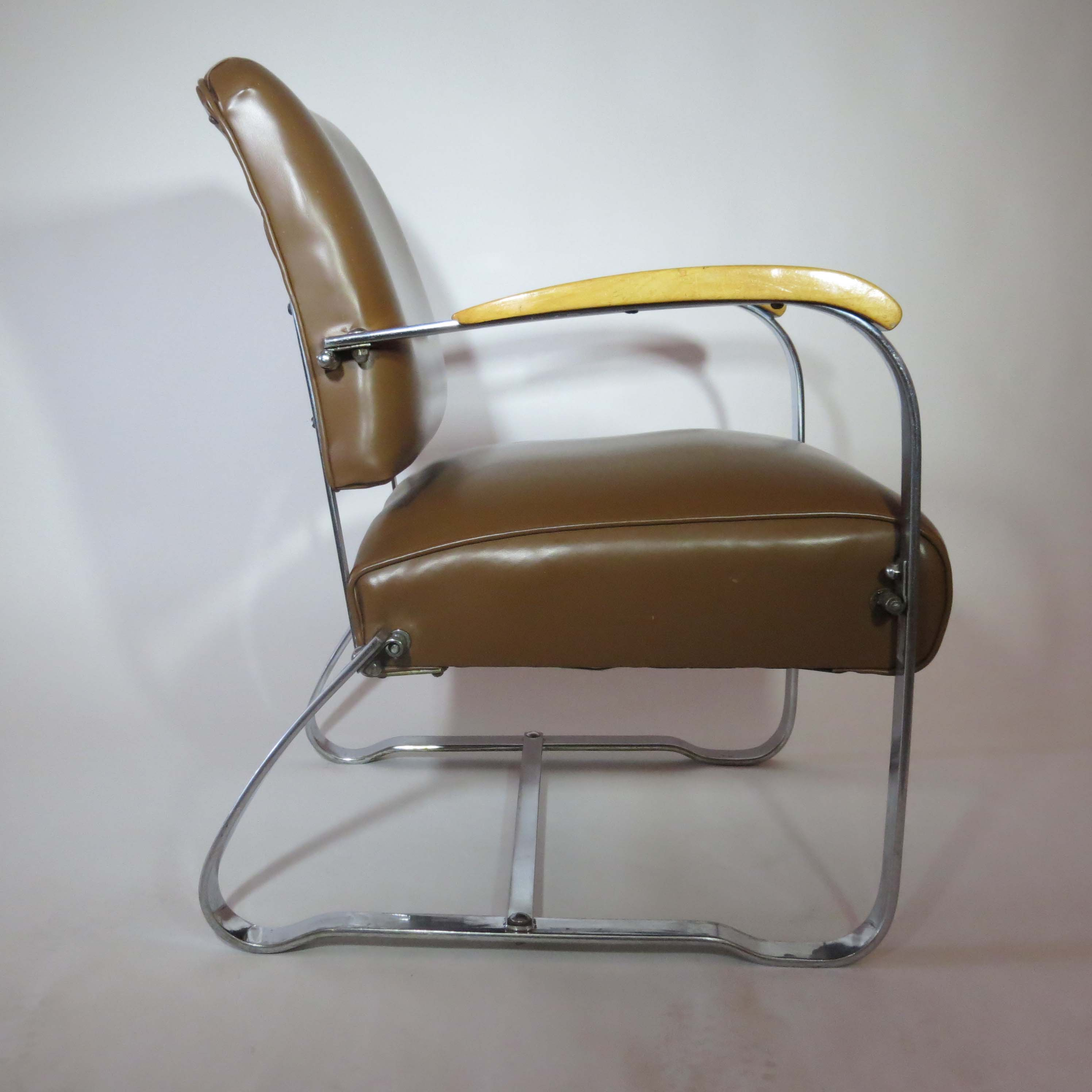 Elegant Pair Of American Art Deco Arm Chairs By The McKay Company