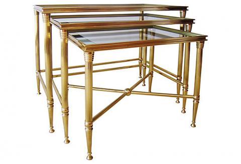 Mid Century Maison Jansen Brass Glass Mirror Nesting Tables