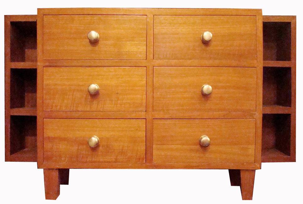 Shallow Mid Century Modern Wooden Cabinet with Nickel