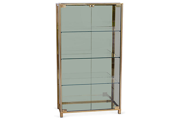 mid century modern brass smoked glass vitrine modernism. Black Bedroom Furniture Sets. Home Design Ideas