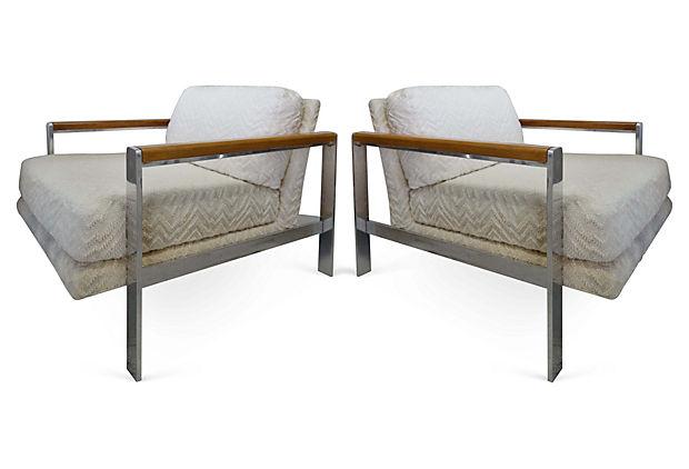 Milo Baughman Mid Century Modern Chrome U0026 Wicker Chairs