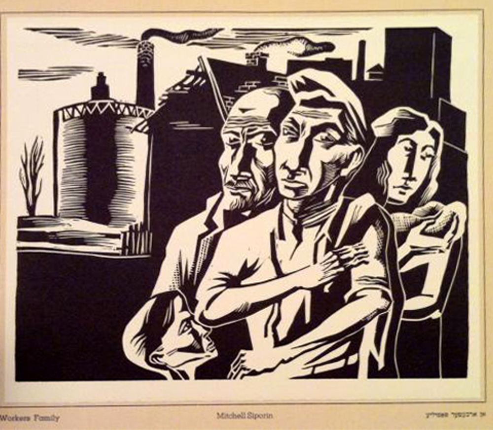 Rare 1937 Woodcut Mitchell Siporin Worker S Family Modernism