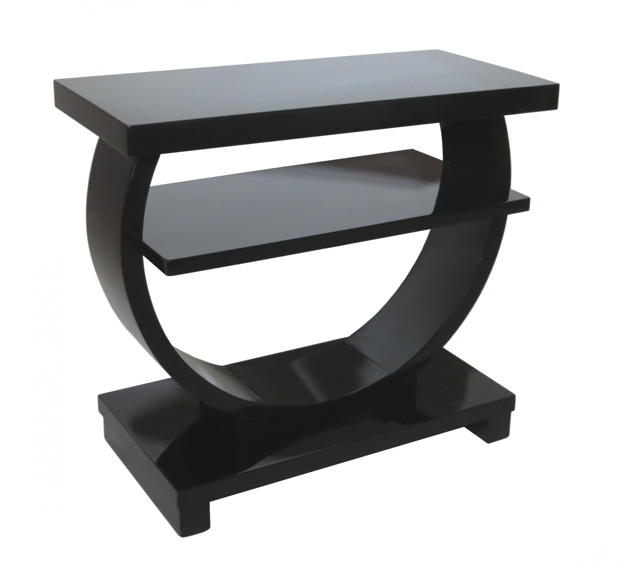 Modernage American Art Deco Black Lacquer Side Table (Short)
