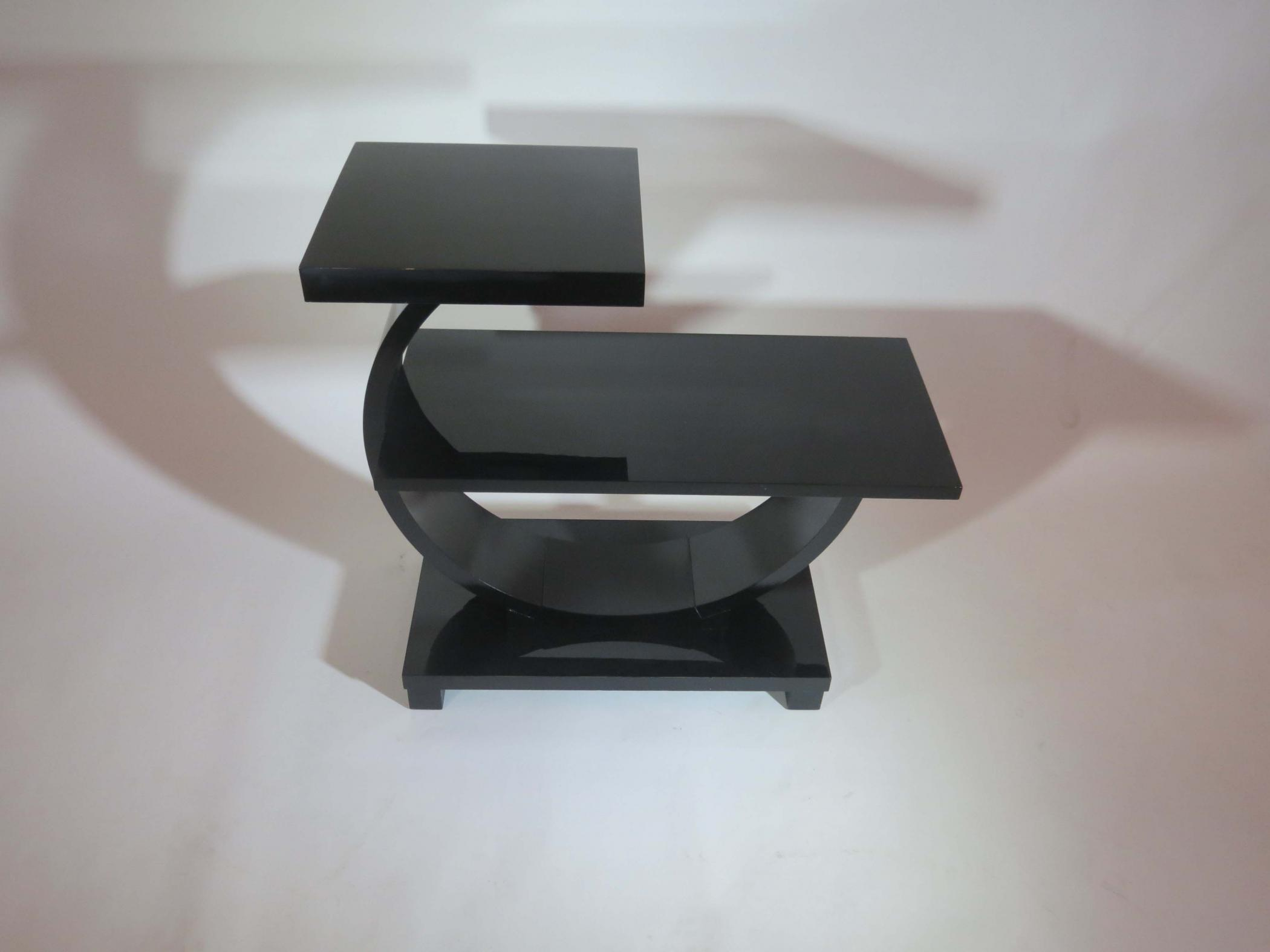 Pair Of American Art Deco Modernage Black Lacquer End Tables