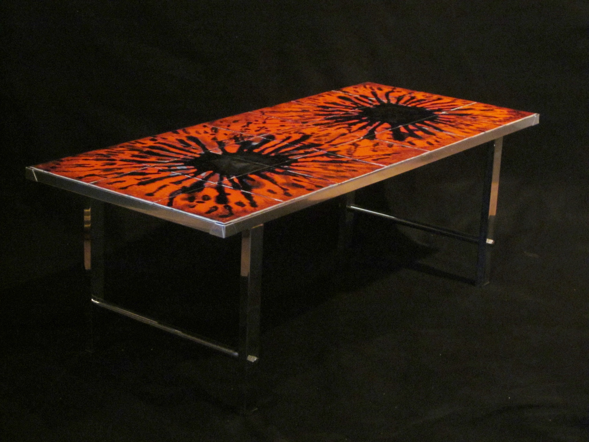 Mid century Modern Chrome And Tile Coffee Table