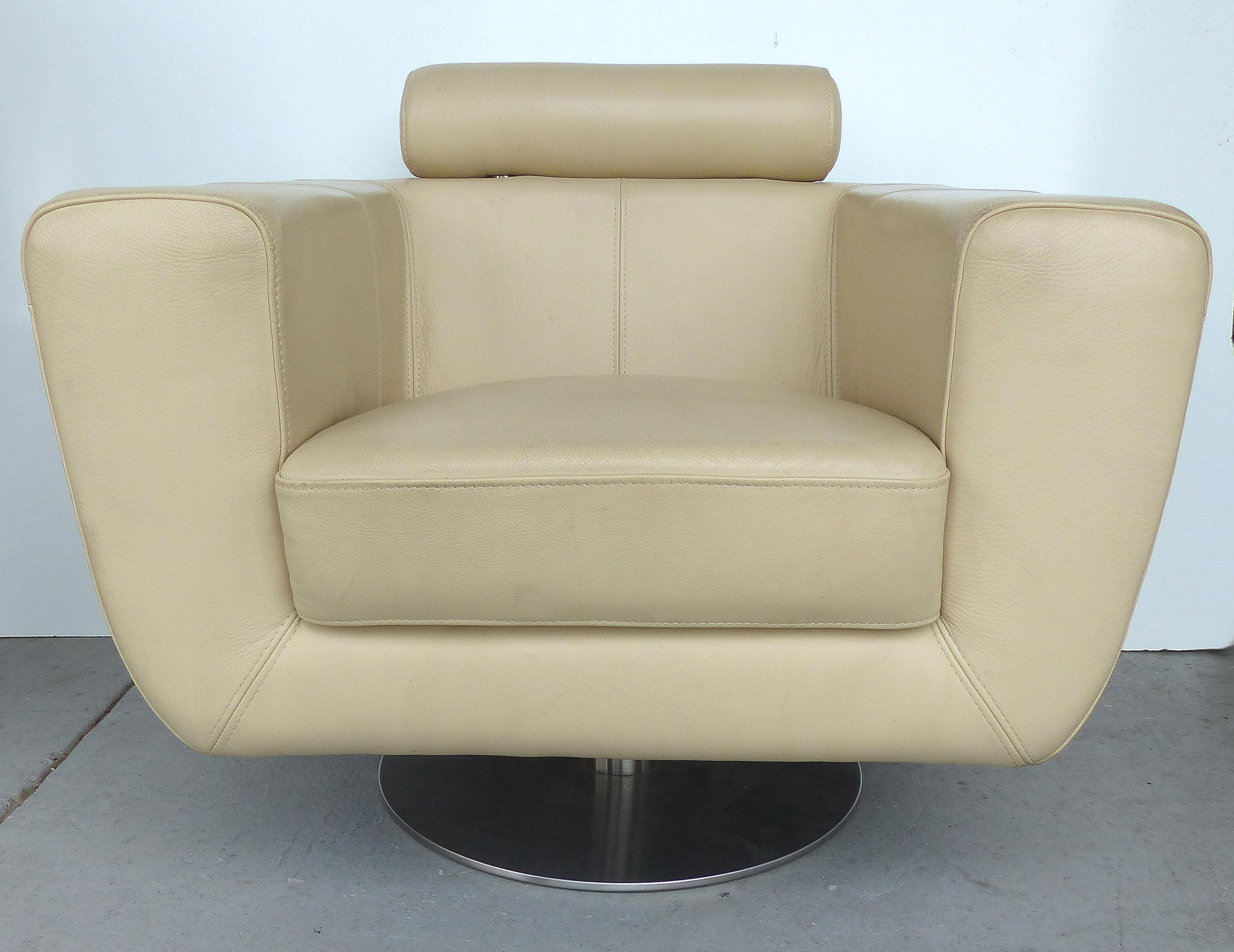 Modern beige leather swivel club chair modernism for Modern furniture sites