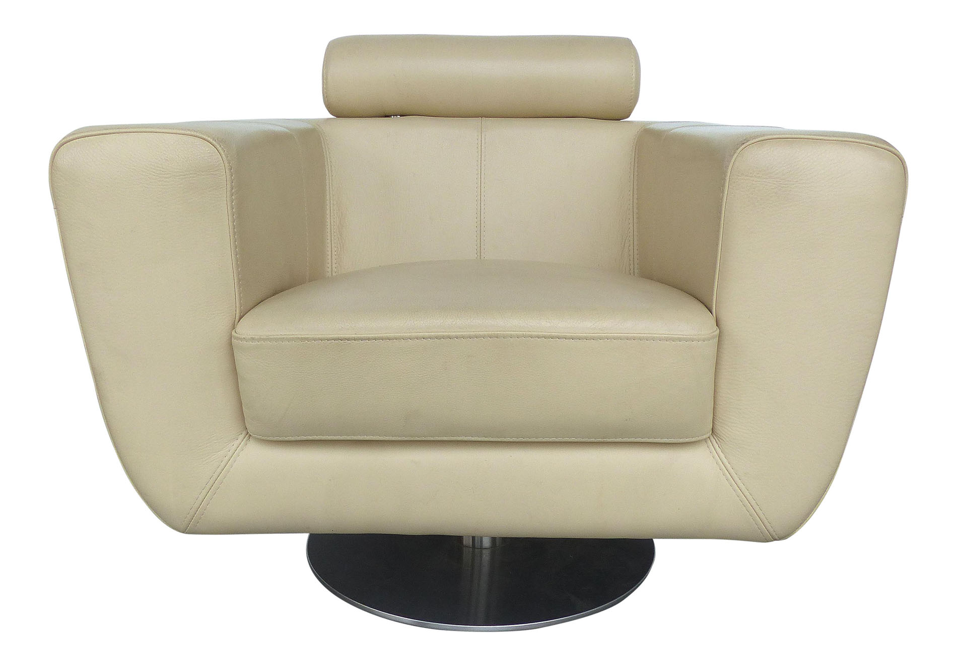 Modern beige leather swivel club chair modernism for Swivel club chair leather