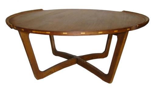 Large 1950 S Mid Century Modern Round Teak Wood Coffee Table
