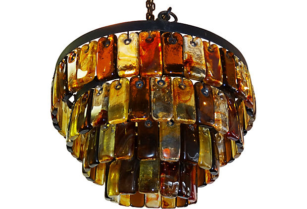 Iron chandelier with amber murano glass modernism iron chandelier with amber murano glass mozeypictures Choice Image