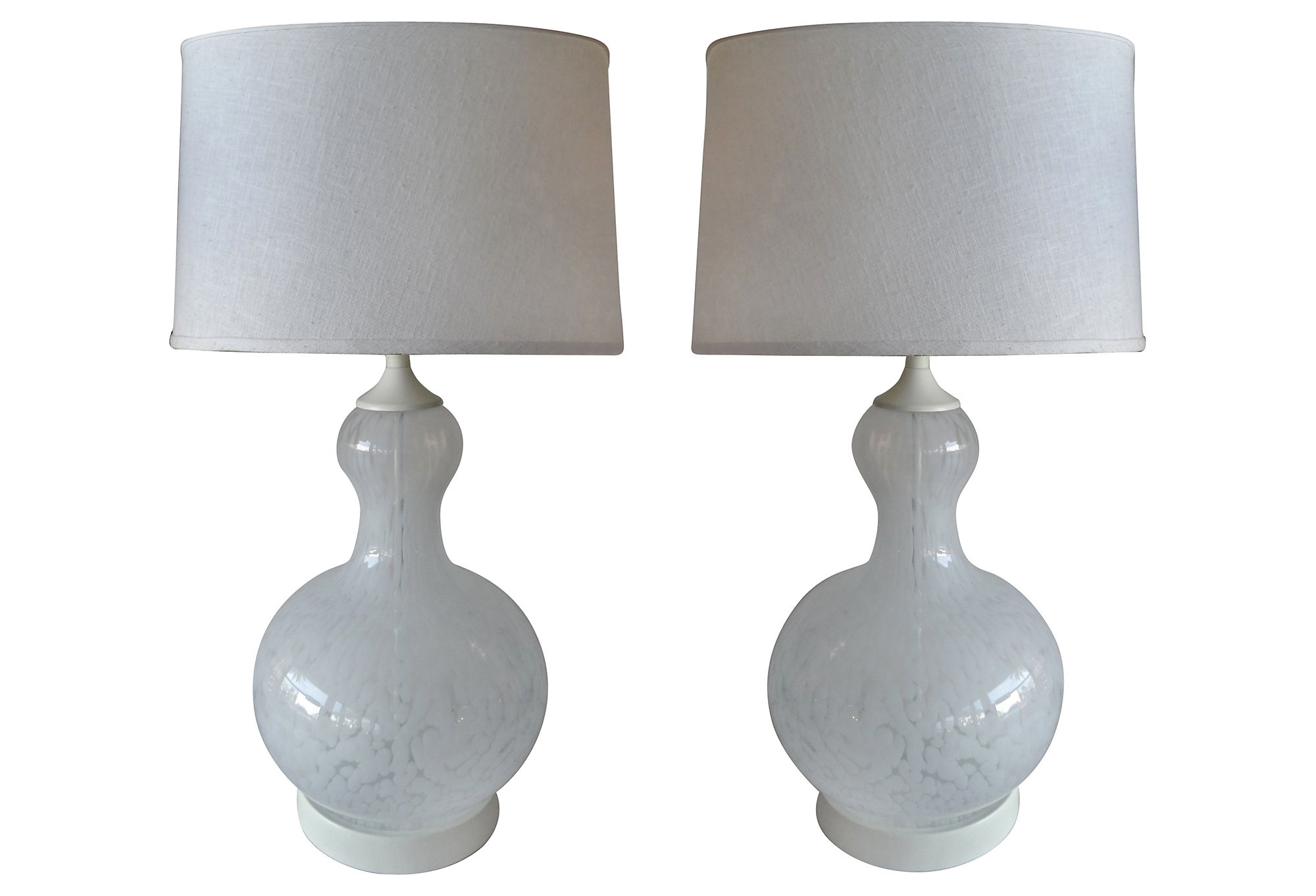 Pair Of Mottled Murano Glass Table Lamps