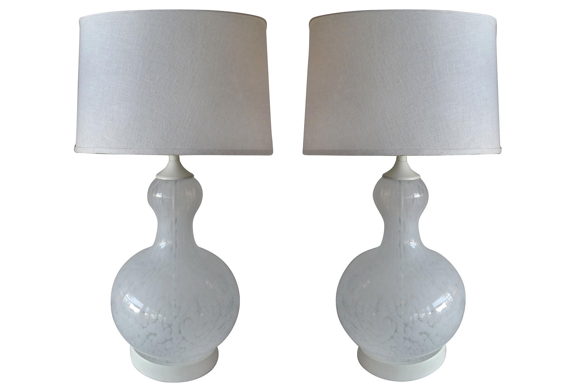 Pair Of Mottled Murano Glass Table Lamps