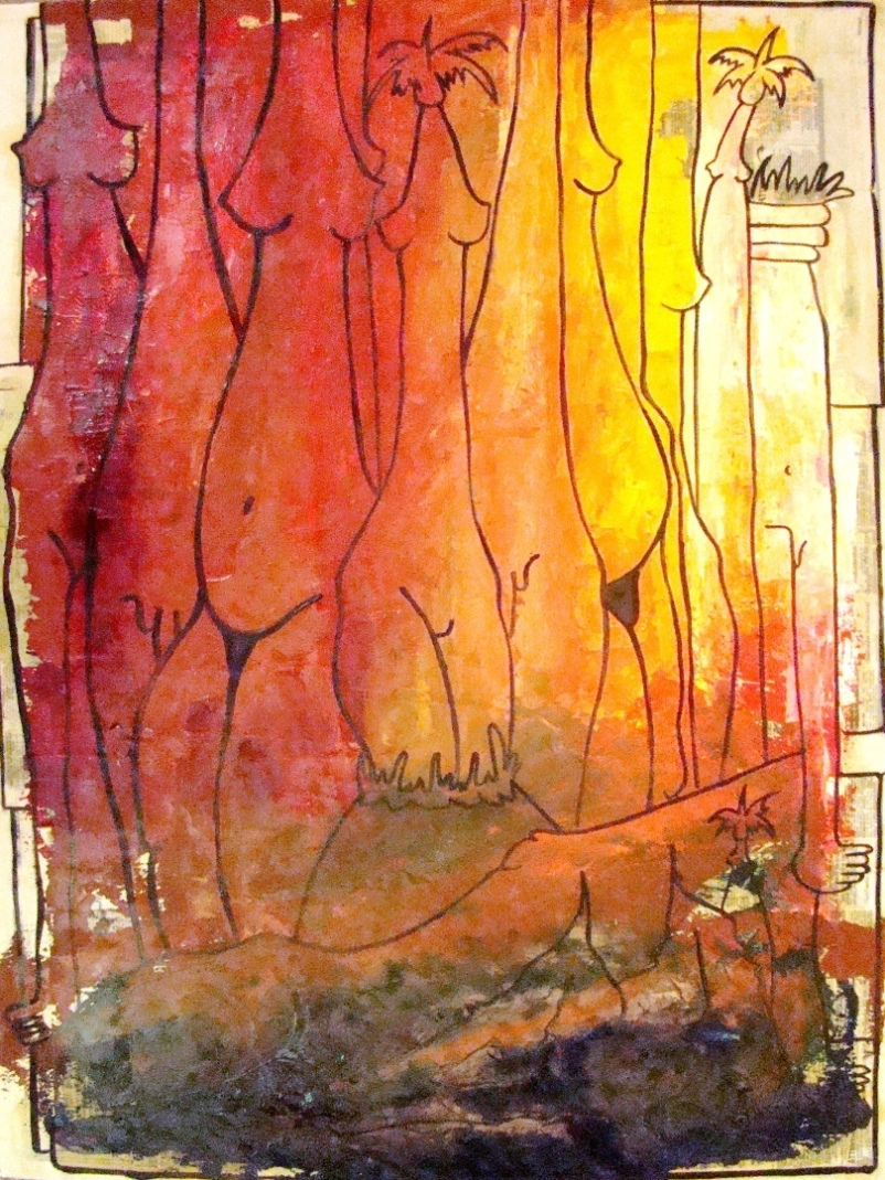 Cuban Artist Navarrete Oil Painting With Collage On Paper ...