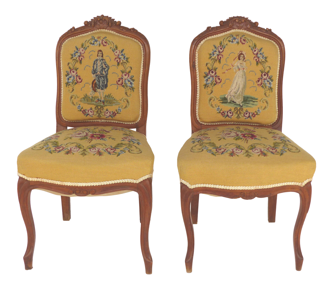 Vintage Chic Needlepoint Upholstered Side Chairs