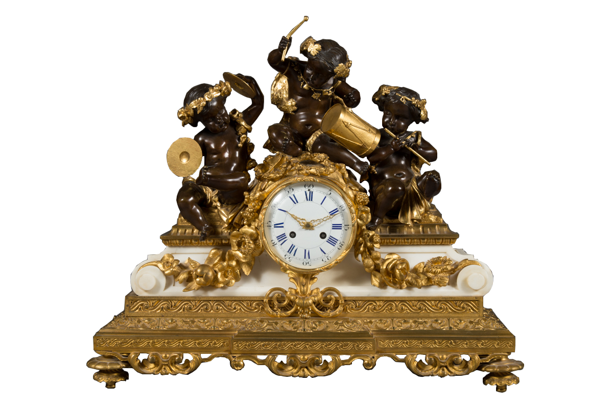 French Antique Ormolu Patinated Bronze And Marble Clock