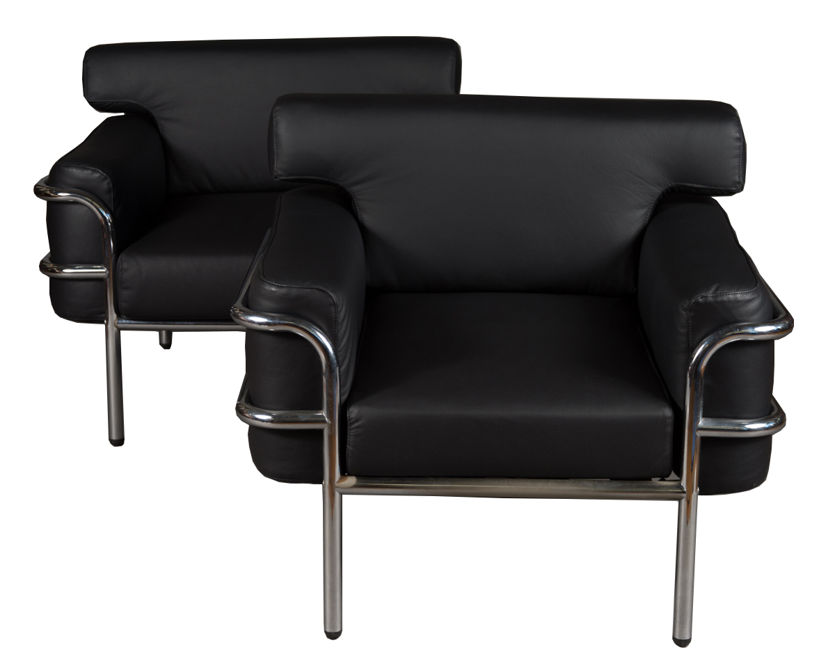 Pair Vintage Le Corbusier Style Black Leather Club Chairs
