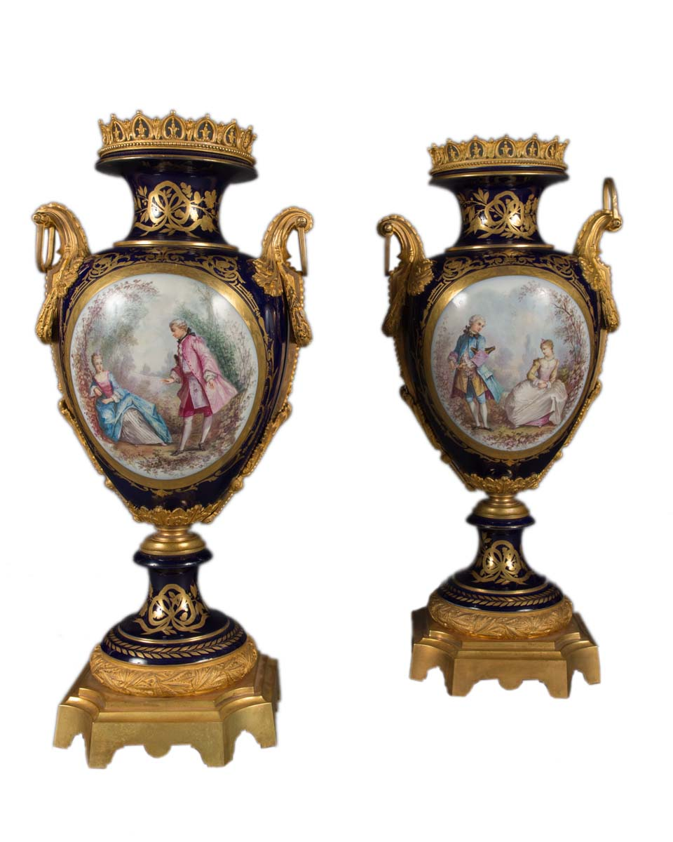 Pair Of Large Antique French Style Ormolu Mounted Vases
