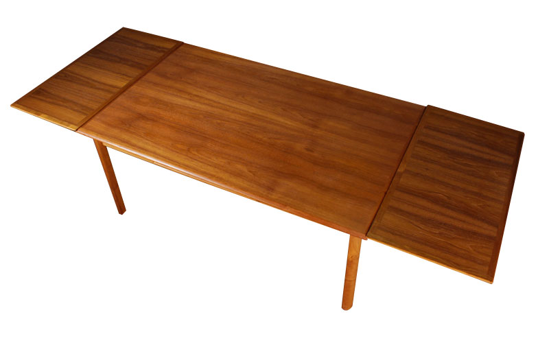 Refinished Mid Century Modern Draw Leaf Danish Table