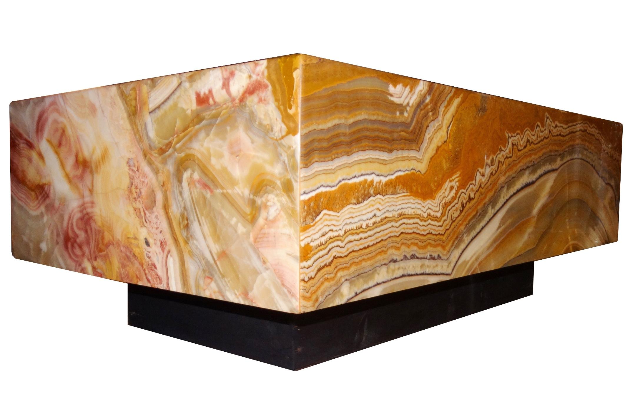 large mid century modern onyx platform coffee table modernism. Black Bedroom Furniture Sets. Home Design Ideas