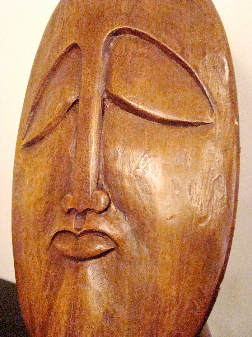 A Carved Mid Century Modern Themed Wood Sculpture Modernism