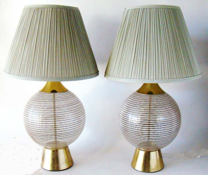 Pair of 50s mid century modern glass table lamps sold modernism pair of 50s mid century modern glass table lamps sold aloadofball Gallery