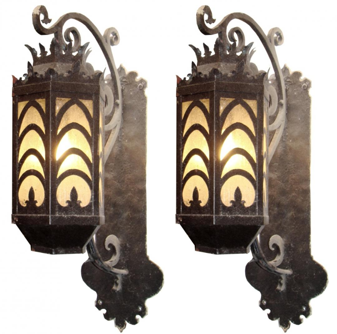 Fabulous Pair Of Large Bronze Amp Copper Art Deco Sconces