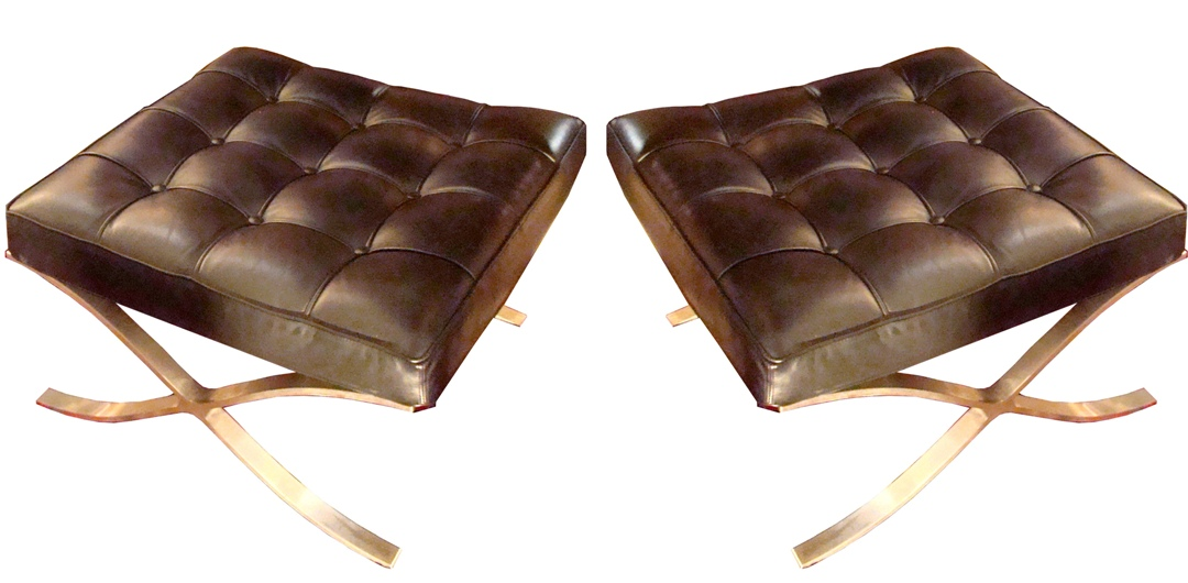 pair french mid century modern black leather ottomans black leather mid century