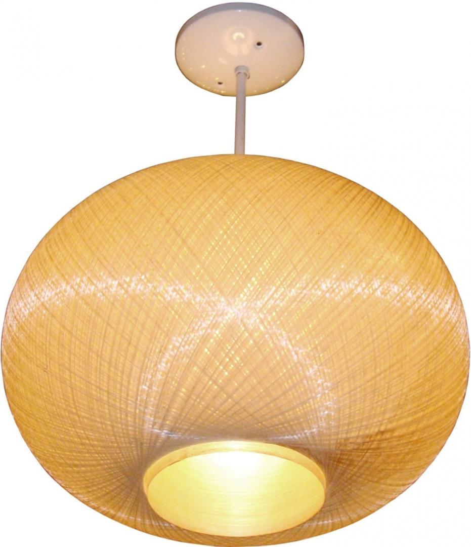 Mid Century Modern Fiberglass Pendant Light Pair Available