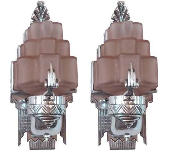 American art deco sculptural aluminum and pink glass sconces modernism american art deco sculptural aluminum and pink glass sconces aloadofball Image collections