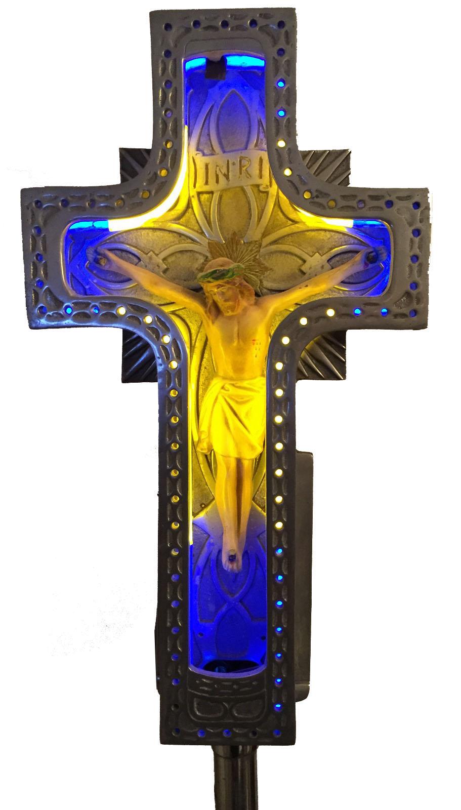 Rare 1930 S Art Deco Vintage 2 Color Neon Crucifix Modernism