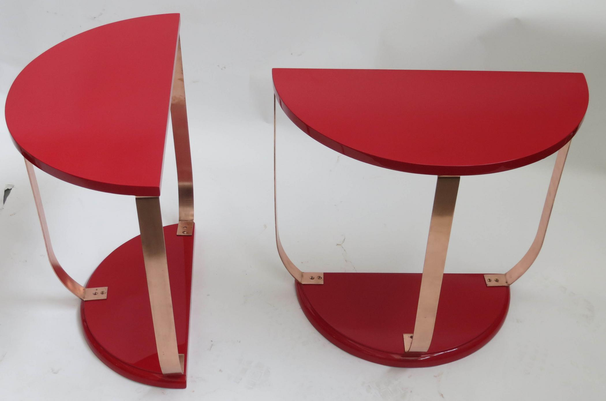 Red Lacquer American Art Deco Side Table Pair