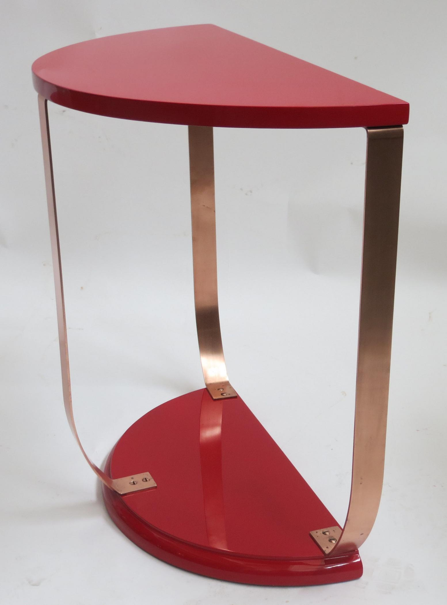 Red Lacquer American Art Deco Side Table Pair Modernism