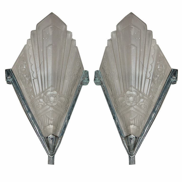 Pair of French Art Deco Geometric Sconces, c. 1925 | Modernism