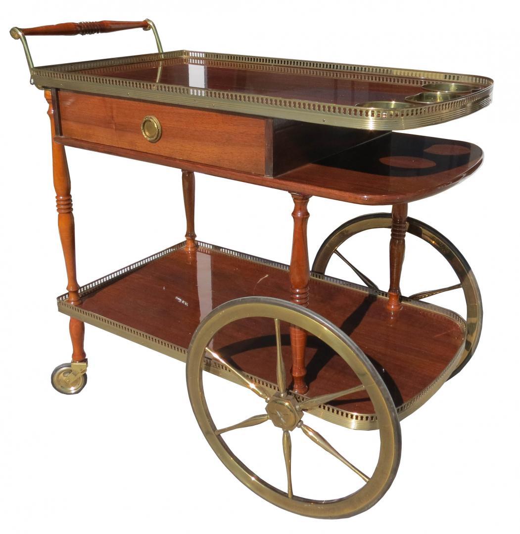 Sixties wood and pierced brass wheeled bar cart modernism