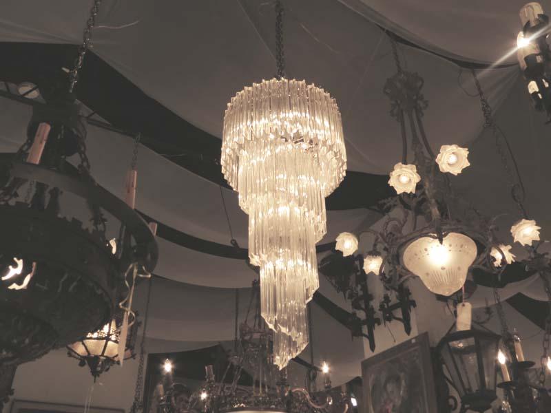 Dramatic Mid Century Modern Spiral Crystal Chandelier