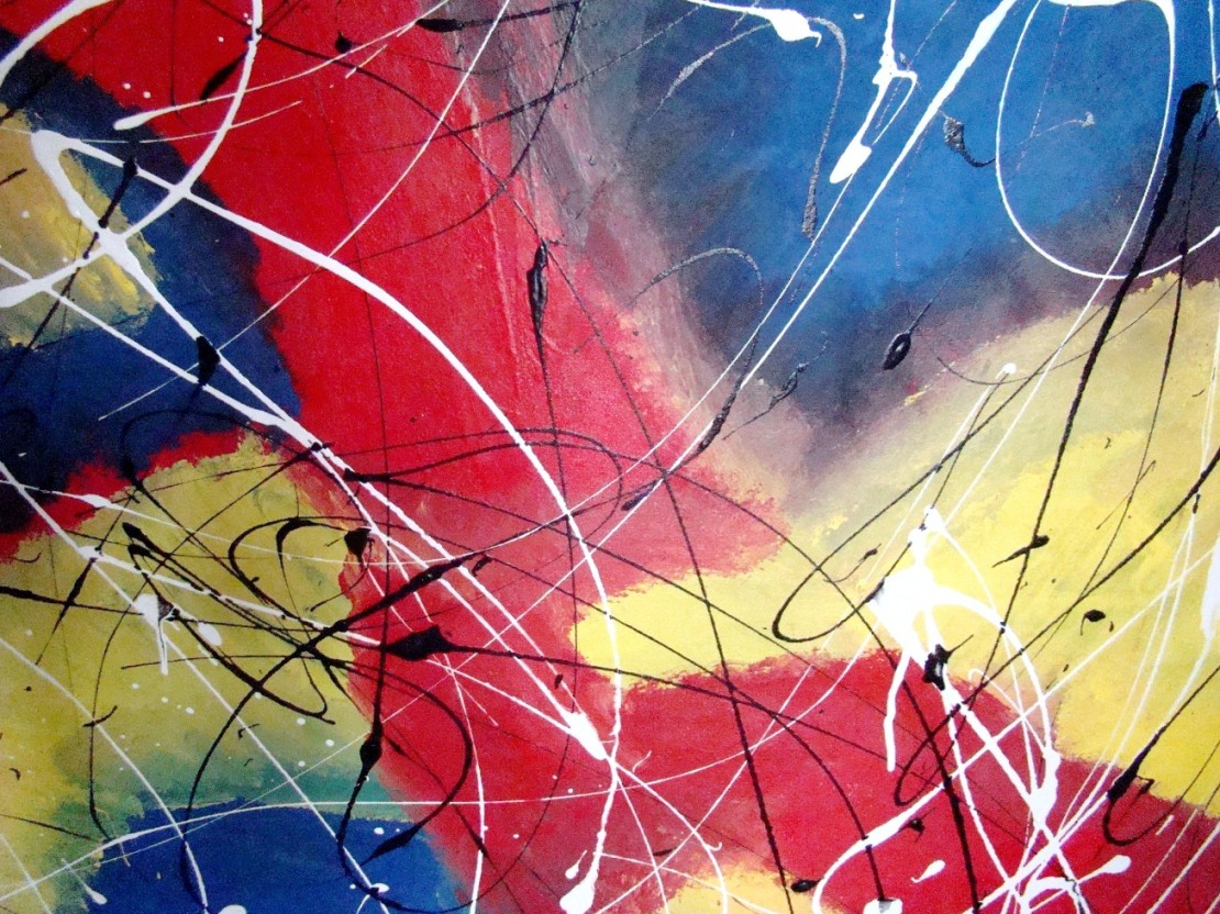 Modern Abstract Acrylic Painting With Splatter Effect