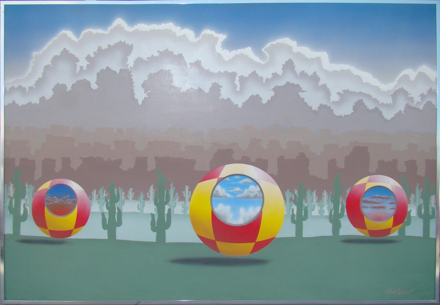 Picture of: Large Surrealistic Style Mid Century Landscape Painting Modernism