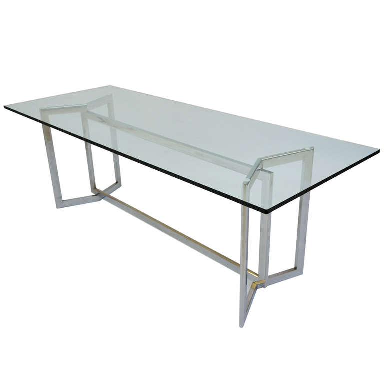 Shop Luxurious Modern Design Stainless Steel Dining Set: Italian Design 1970's Glass And Steel Base Dining Table